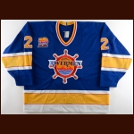 "1993-94 Martin Hamrlik Peoria Rivermen Game Worn Jersey - ""10-year Anniversary"" - Photo Match"