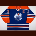 2006-07 Jason Smith Edmonton Oilers Game Worn Jersey – Retro – Team Letter