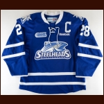 2012-13 Stuart Percy Mississauga Steelheads Game Worn Jersey - Inaugural Season – Team Letter