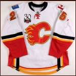 "2009-10 David Moss Calgary Flames Game Worn Jersey - ""Calgary Flames 30-year Anniversary"" - Photo Match - Team Letter"