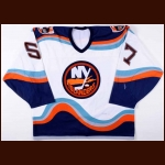 1997-98 J.P. Dumont New York Islanders Pre-Season Game Worn Jersey - 1st NHL Jersey - Team Letter