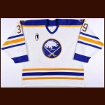 "1995-96 Dominik Hasek Buffalo Sabres Game Worn Jersey – ""1"" - Dom's Last-Ever Home Gamer in the Sabres Original Color Scheme - Photo Match"