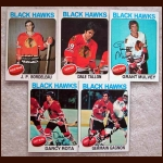 1975-76 Autographed Chicago Black Hawks Card Group of 5