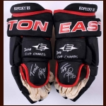 Tomas Kopecky Chicago Blackhawks Black Easton Game Worn Gloves – 2010 – Autographed - Stanley Cup Season