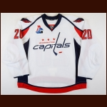 "2011-12 Troy Brouwer Washington Capitals Game Worn Jersey – ""Lokomotiv"" - Photo Match – Team Letter"