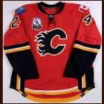 "2009-10 Craig Conroy Calgary Flames Game Worn Jersey - ""Calgary Flames 30-year Anniversary"" - Photo Match - Team Letter"