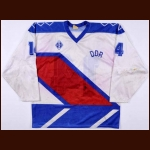 1989 Stefan Steinbock Team East Germany World Championships Game Worn Jersey