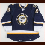 2008-09 Chris Porter St. Louis Blues Game Worn Jersey – Alternate - Rookie - Photo Match – Team Letter