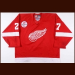 "1997-98 Aaron Ward Detroit Red Wings Game Worn Jersey – ""Believe"" - Stanley Cup Season – Team Letter"