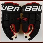 Patrick Kane Chicago Blackhawks Black Bauer Game Worn Gloves – Worn in 2015-16 - Art Ross Trophy – Ted Lindsay Award – Hart Memorial Trophy – Autographed – Team Letter