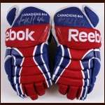 Roman Hamrlik Montreal Canadiens Red, White & Blue Reebok Game Worn Gloves – Autographed