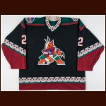 2000-01 Todd Simpson Phoenix Coyotes Game Worn Jersey – Team Letter