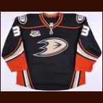 "2013-14 Jakob Silfverberg Anaheim Ducks Game Worn Jersey – Alternate - ""20-year Anniversary"" - Home Opener - 2-Goal Night – Photo Match"