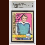 1972-73 Brian Spencer New York Islanders Autographed Card – Deceased – GAI Certified