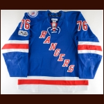 "2016-17 Brady Skjei New York Rangers Game Worn Jersey – ""90-year Anniversary"" – Rookie - 1st Team NHL All-Rookie - Photo Match – Team Letter"