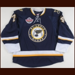 "2009-10 T.J. Oshie St. Louis Blues Game Worn Jersey – Alternate - ""NHL Premiere Stockholm"" - Photo Match – Team Letter"