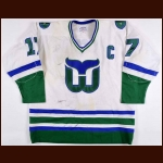 1980-81 Mike Rogers Hartford Whalers Game Worn Jersey - The New England Collection - All Star Season - Photo Match