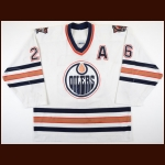2001-02 Todd Marchant Edmonton Oilers Game Worn Jersey - Photo Match – Team Letter