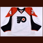 2007-08 Marty Biron Philadelphia Flyers Game Worn Jersey - Photo Match – Team Letter