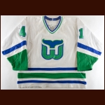 1990-91 Joe Day Hartford Whalers Pre-Season Game Worn Jersey