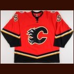 2006-07 Mark Giordano Calgary Flames Game Worn Jersey – Rookie – Team Letter