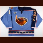 "2003-04 Patrik Stefan Atlanta Thrashers Game Worn Jersey – Alternate - ""37 – Dan Snyder"" – ""5-year Anniversary"" - Photo Match – Team Letter"