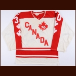 1976-77 Rick Wamsley Team Canada World Junior Championships Game Worn Jersey – The Rick Wamsley Collection – Rick Wamsley Letter