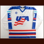 1991 Tony Amonte Team USA World Championships Game Worn Jersey – Rookie – Photo Match