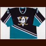 2002-03 Niclas Havelid Anaheim Mighty Ducks Game Worn Jersey - Photo Match