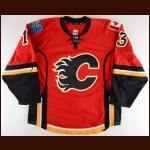 2015-16 Johnny Gaudreau Calgary Flames Game Worn Jersey - First 30-Goal Season - All Star Season - Photo Match – Team Letter