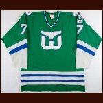 "1981-82 Russ Anderson Hartford Whalers Game Worn Jersey – ""10-year Anniversary"""