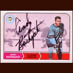 1968-69 OPC Andy Bathgate Pittsburgh Penguins Autographed Card – Deceased