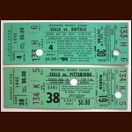 1970-71 & 1971-72 California Golden Seals Full Ticket Group of 2