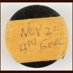 Jean Ratelle New York Rangers - Ratelle's 4th Goal of the Game - Game Used Puck – November 21, 1971 – Autographed - Jean Ratelle Letter