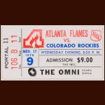 1976-77 Atlanta Flames Ticket Stub -  vs. Rockies