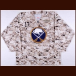 2011-12 Marc-Andre Gragnani Buffalo Sabres Veteran's Day Camouflage Game Worn Jersey – Team Letter