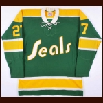 Circa Early 1970's Gilles Meloche California Golden Seals Authentic Jersey