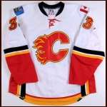 2008-09 Adrian Aucoin Calgary Flames Game Worn Jersey - Photo Match - Team Letter