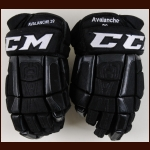 Nathan MacKinnon Colorado Avalanche Black CCM Game Worn Gloves – 2016 Stadium Series