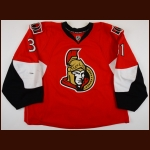 2008-09 Alex Auld Ottawa Senators Game Worn Jersey - Photo Match - Team Letter