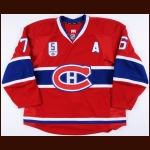 "2014-15 P.K. Subban Montreal Canadiens Game Worn Jersey – ""5 Guy Lapointe Night"" - 1st Team NHL All Star – Team Letter"