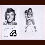 Jacques Richard Atlanta Flames Autographed 8x10 B&W Photo - Deceased