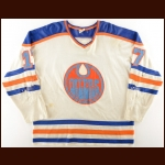 1976-77 Rusty Patenaude and 1977-78 Gary MacGregor WHA Edmonton Oilers Game Worn Jersey - Photo Match
