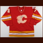 "1987-88 John Tonelli Calgary Flames Game Worn Jersey – ""1988 Calgary Olympics"" - Photo Match"