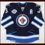 "2011-12 Dustin Byfuglien Winnipeg Jets Game Worn Jersey - ""Inaugural Game"" - Team Letter"