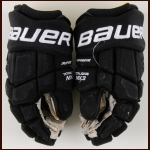 Mikhail Grigorenko Colorado Avalanche Black Bauer Game Worn Gloves – 2016 Stadium Series