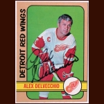 1972-73 Topps  #141 Alex Delvecchio Red Wings Autographed Card