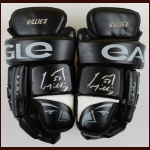 Trevor Gillies Springfield Falcons Black Eagle Game Worn Gloves – Team Letter