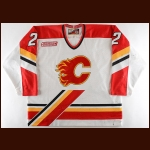 1999-00 Darryl Shannon Calgary Flames Game Worn Jersey - Photo Match