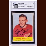 1957-58 Johnny Wilson Detroit Red Wings Autographed Card – Deceased